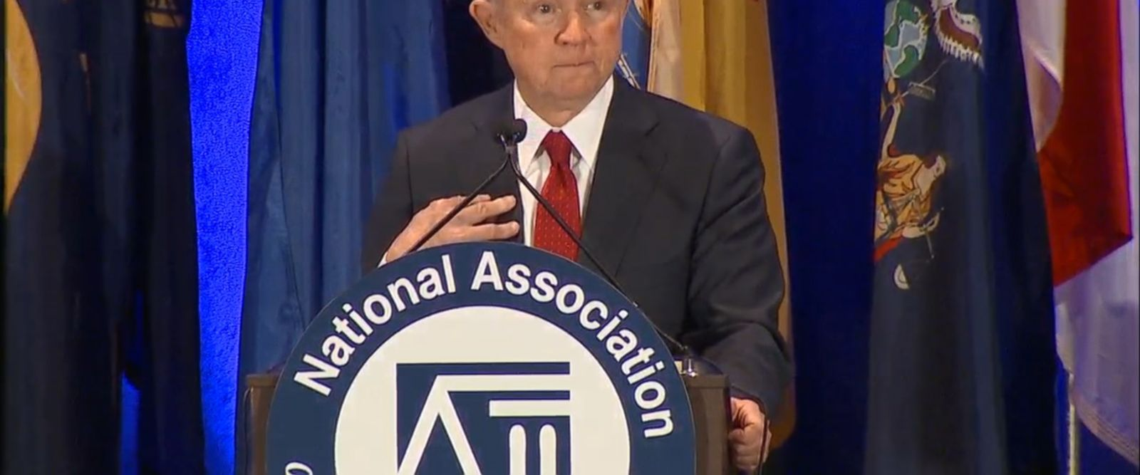 """VIDEO: President Trump's new attorney general, Jeff Sessions, said Tuesday there is """"a sense that we're in danger"""" from rising crime."""