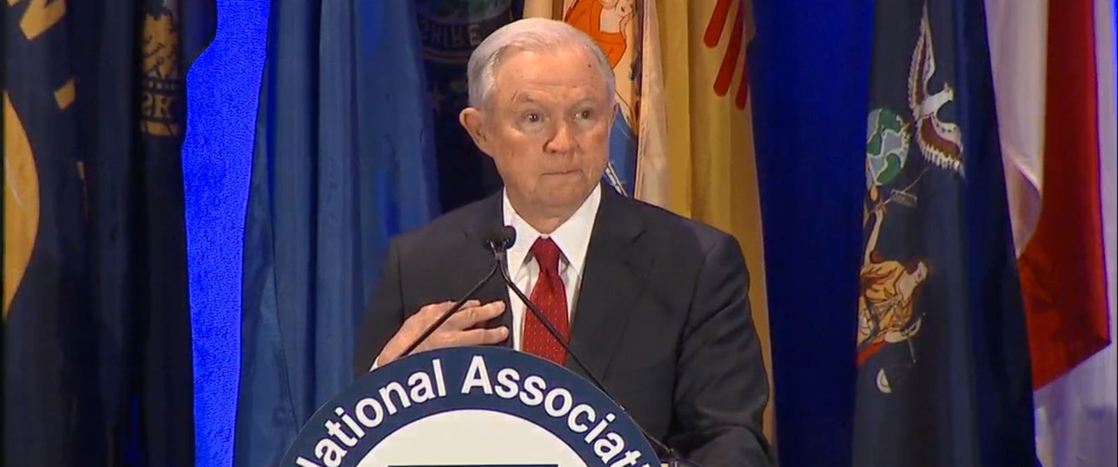 "VIDEO: President Trump's new attorney general, Jeff Sessions, said Tuesday there is ""a sense that we're in danger"" from rising crime."