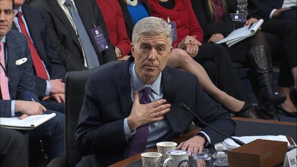 Judge Neil Gorsuch sought to distance himself from the Trump administration and hit the president over comments made on the campaign trail during testimony before members of Congress on his second day of a Supreme Court confirmation hearing.