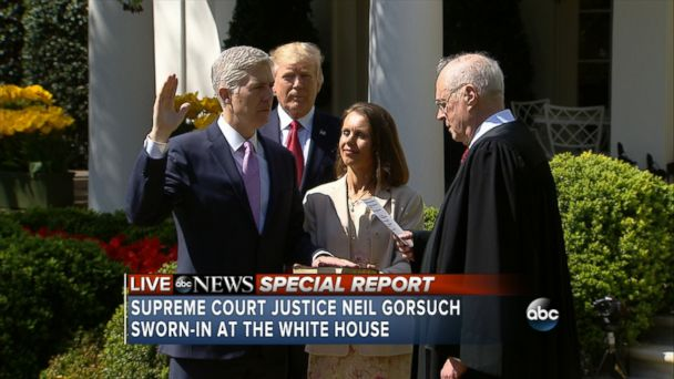 Justice Anthony Kennedy administered the oath of office to Neil Gorsuch on Monday morning.