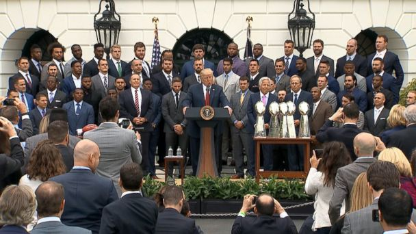 President Donald Trump welcomed the New England Patriots to the White House this afternoon, praising coach Bill Belichick and the team's owner Bob Kraft along with many of the players who were present.