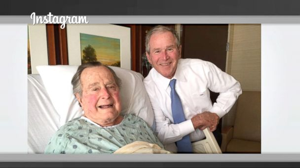 VIDEO: George H.W. Bush may be recovering from a mild case of pneumonia in a Houston hospital, but it hasn't dampened his affinity for sharing personal moments on social media.