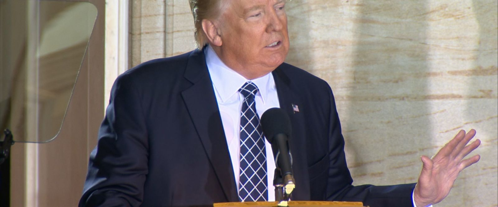 """We will never, ever be silent in the face of evil again,"" President Donald Trump said today in a speech commemorating Holocaust Remembrance Day."