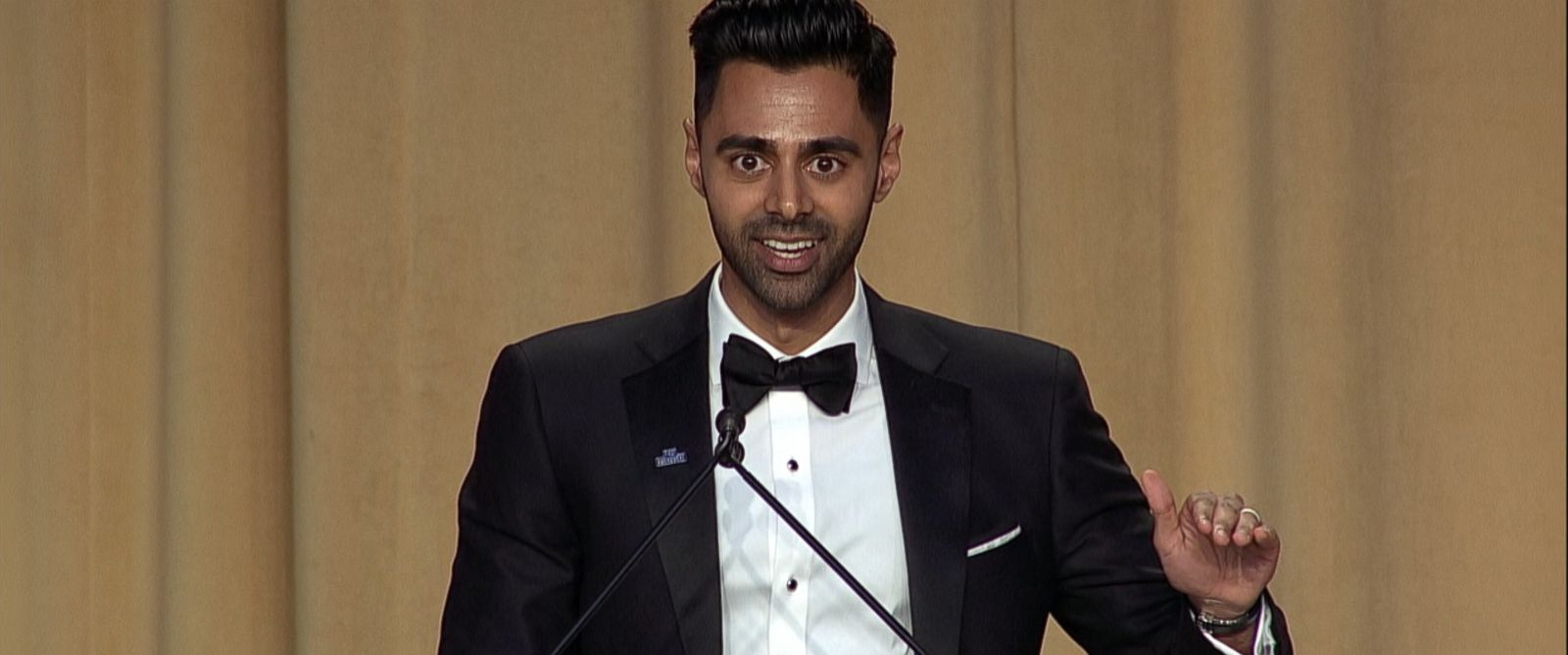 VIDEO: Hasan Minhaj aimed his jokes at the Trump administration, which wasn't present for the annual event.