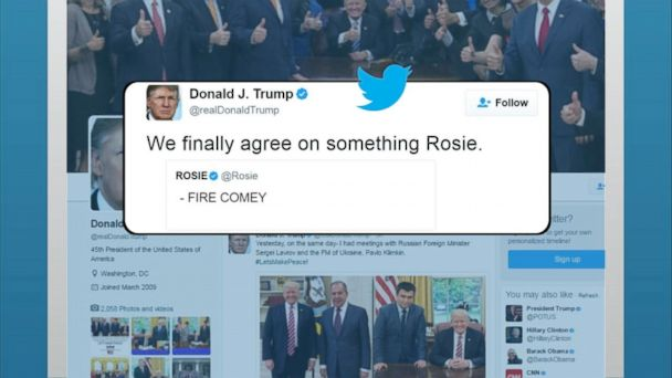 VIDEO: President Donald Trump and longtime foil, comedienne Rosie O'Donnell, seemed to find common ground Thursday after Trump resurfaced a December tweet of O'Donnell's calling for the firing of FBI Director James Comey.