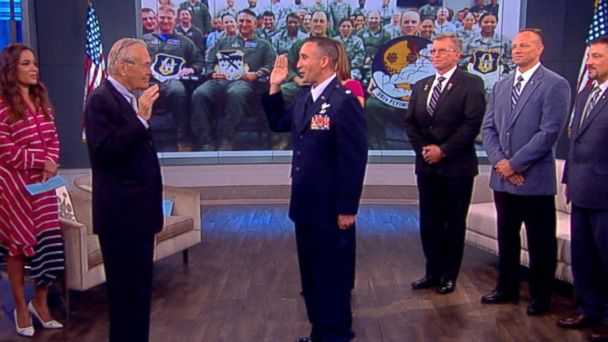 VIDEO: Former Secretary of Defense Donald Rumsfeld surprises Air Force major with promotion