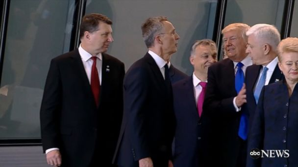President Trump appeared to push aside a NATO leader to seemingly get to the front of the group as they walked.