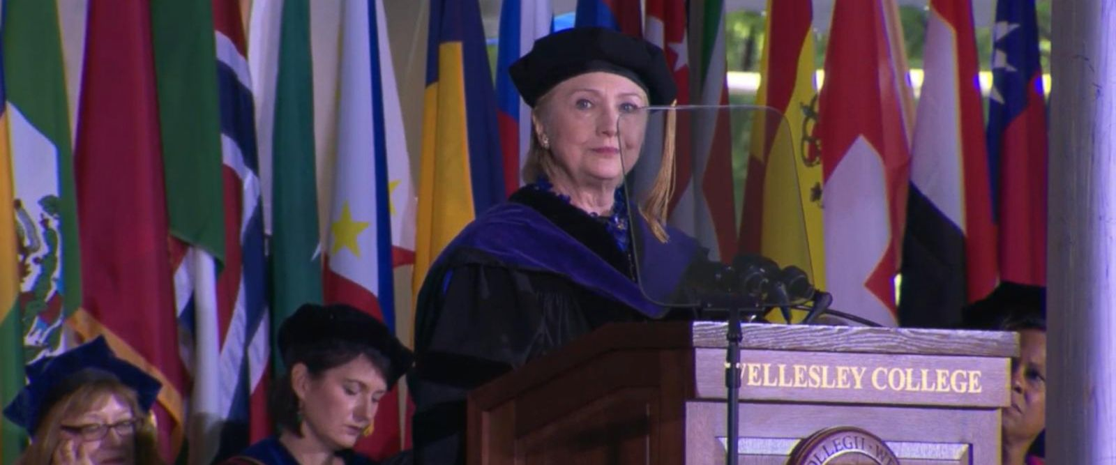 During a commencement speech at Wellesley College, Hillary Clinton did not hold back from taking swipes at Donald Trump.