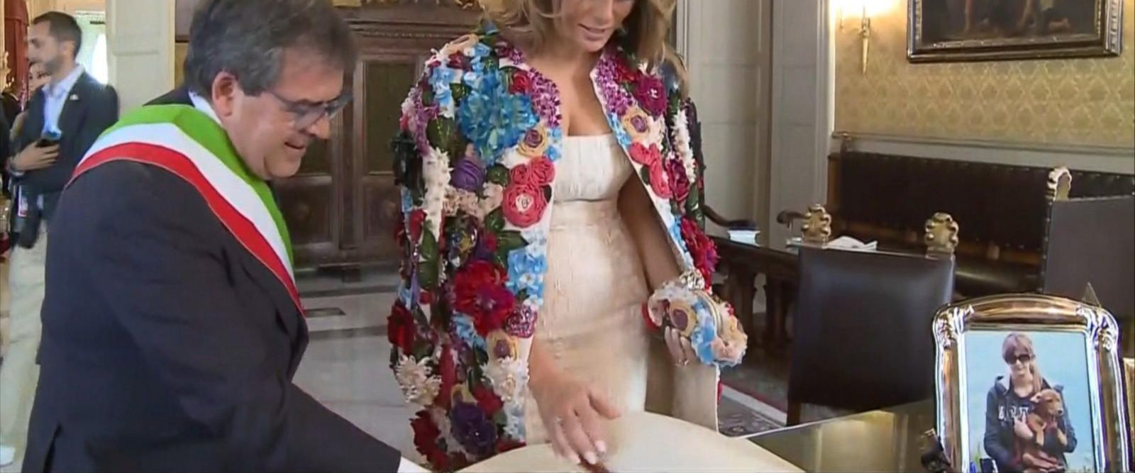 The first lady is turning heads for wearing the high-priced Dolce & Gabbana item in Sicily today.