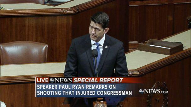 VIDEO: President Trump, House Speaker Paul Ryan and House Minority Leader Nancy Pelosi spoke of unity on Wednesday.