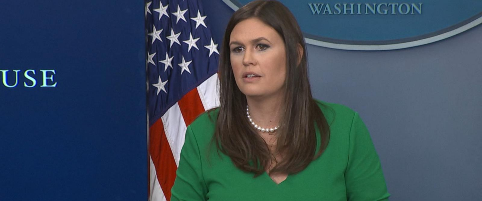 Press secretary Sarah Sanders repeatedly touted the energy of the crowds responding to the president and said nothing about the substance of his remarks.