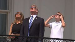 Donald, Melania and Barron Trump stepped outside the White House to watch the total solar eclipse.