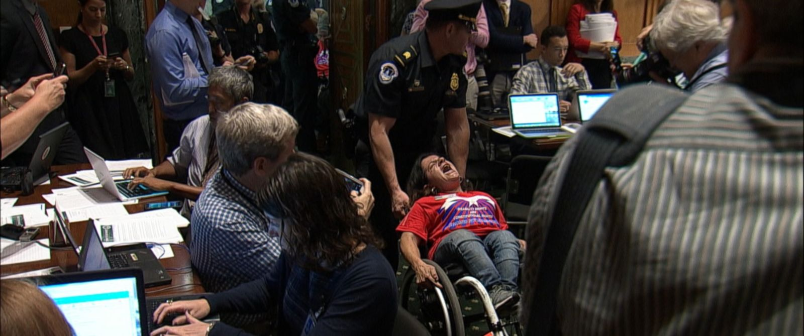 "VIDEO: Dozens of protesters chanted, ""No cuts to Medicaid! Save our liberty!"""