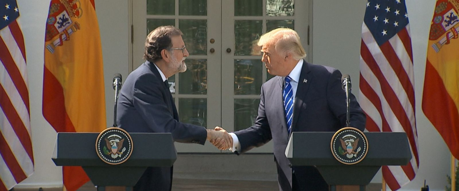 """Mariano Rajoy, the prime minister of Spain, joined President Donald Trump in the Rose Garden today to discuss """"a crucial range of economic and security issues."""""""