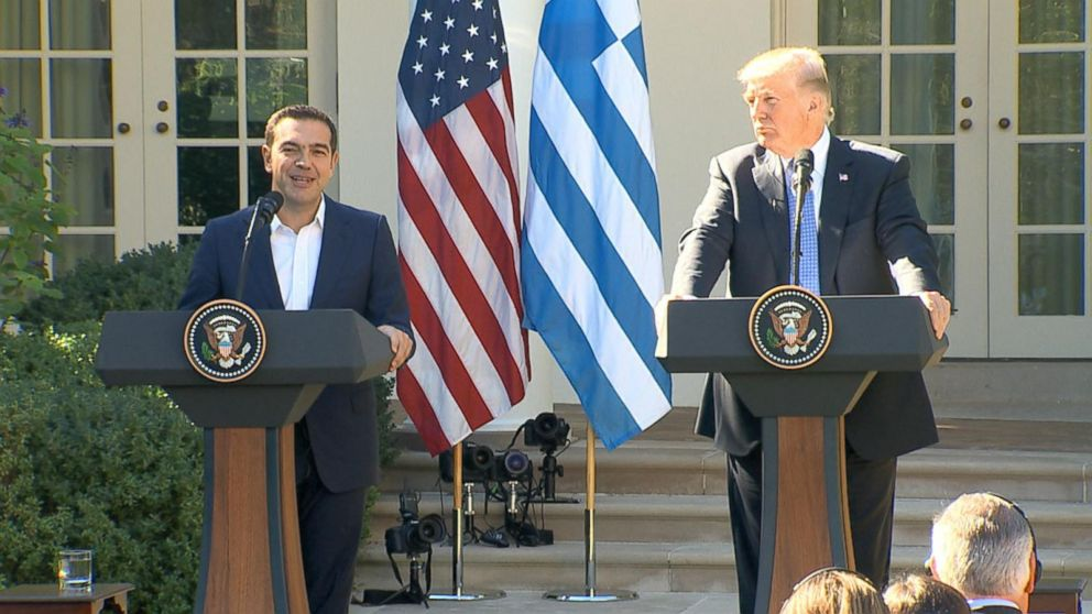 Trump holds press conference with Greek prime minister