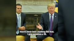 President Donald Trump praised the federal governments response to Hurricane Maria in Puerto Rico, despite the islands governor saying theres more to be done.