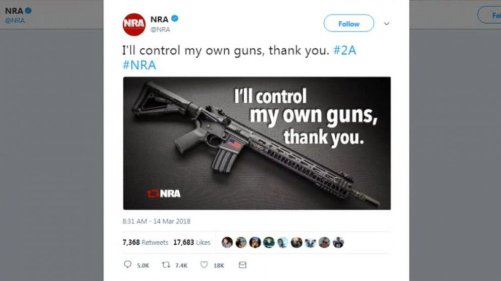 NRA tweets picture of an AR-15 amid the National Student Walkout