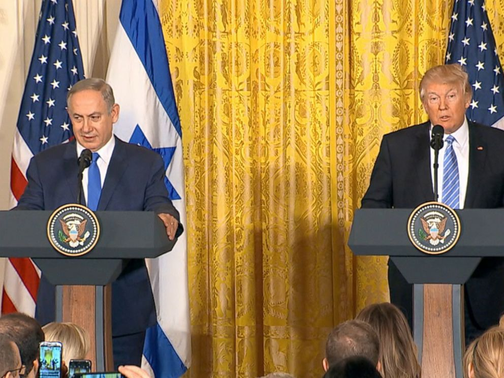 PHOTO: Israeli Prime Minister Benjamin Netanyahu and President Donald Trump speak at a joint press conference at the White House in Washington, Feb. 15, 2017.