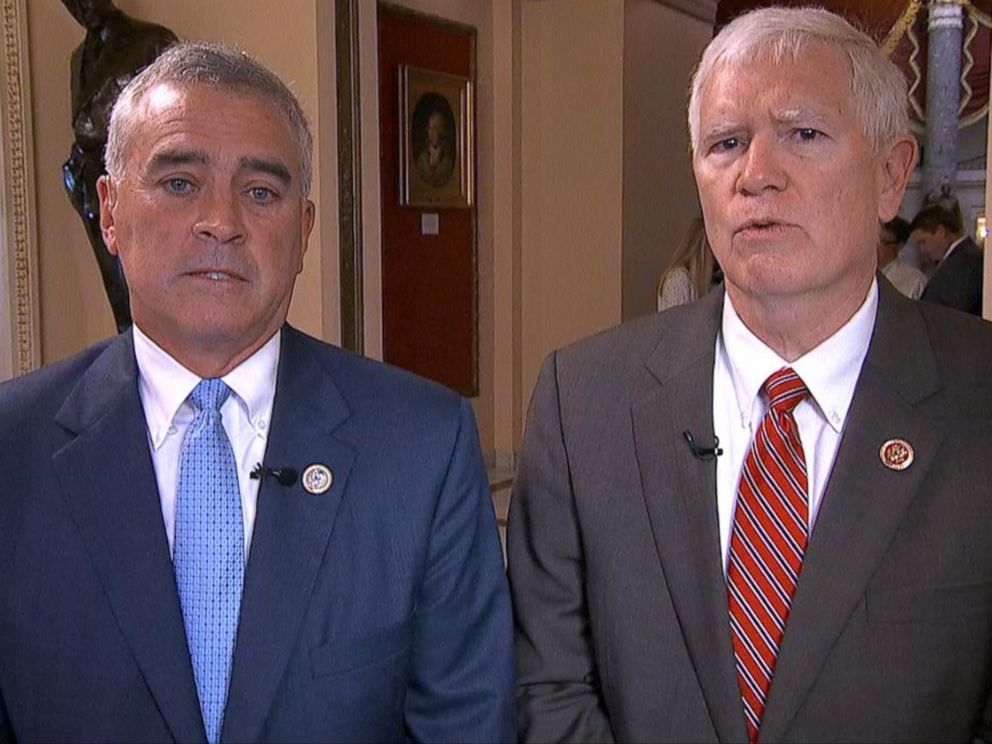 PHOTO: Ohio Rep. Brad Wenstrup and Alabama Rep. Mo Brooks appear on Good Morning America, June 15, 2017.