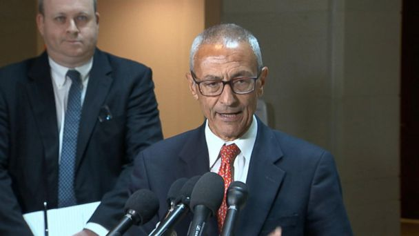 PHOTO: John Podesta making a statement after a closed door meeting before the House Intelligence Committee, June 27, 2017 in Washington, DC.