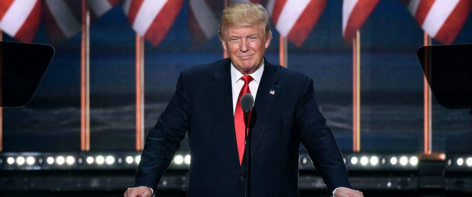 PHOTO: Donald Trump speaks at the 2016 Republican National Convention from the Quicken Loans Arena in Cleveland, Ohio.