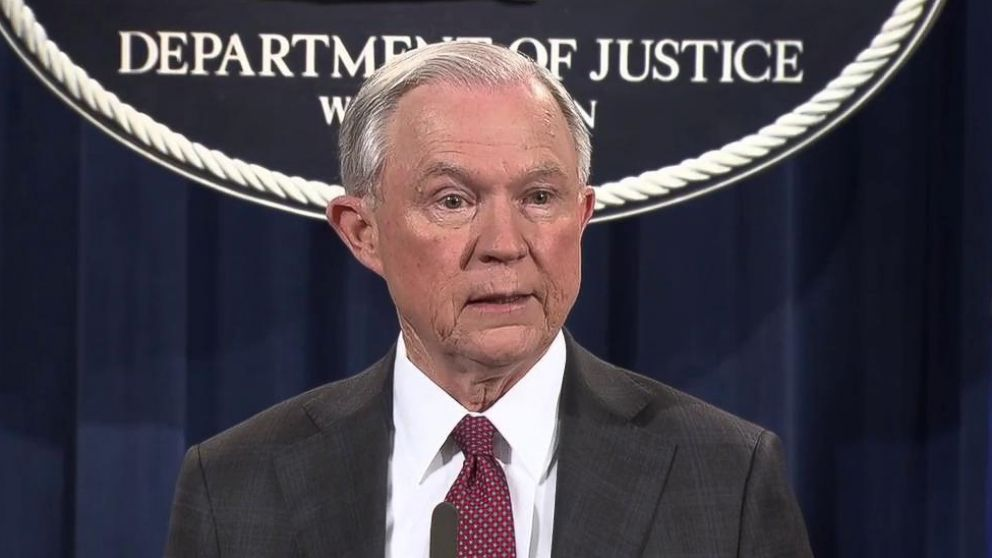 PHOTO: Attorney General Jeff Sessions speaks at the Justice Department in Washington, March 2, 2017.