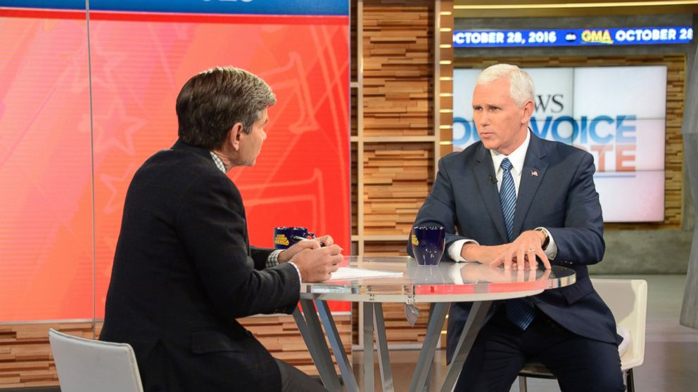 "PHOTO: Indiana Gov. Mike Pence appeared on ""Good Morning America"" in New York City, Oct. 28, 2016."