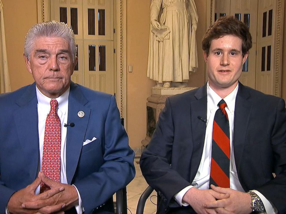 PHOTO: Texas Rep. Roger Williams and his legislative correspondent, Zack Barth, describe the harrowing moments when a gunman opened fire during a baseball practice, wounding Barth, June 15, 2017.