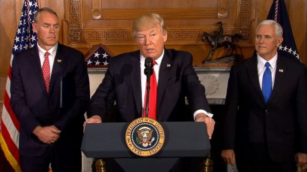 PHOTO: Secretary of the Interior Ryan Zinke, President Donald Trump and Vice President Mike Pence attend a press conference, April 26, 2017.