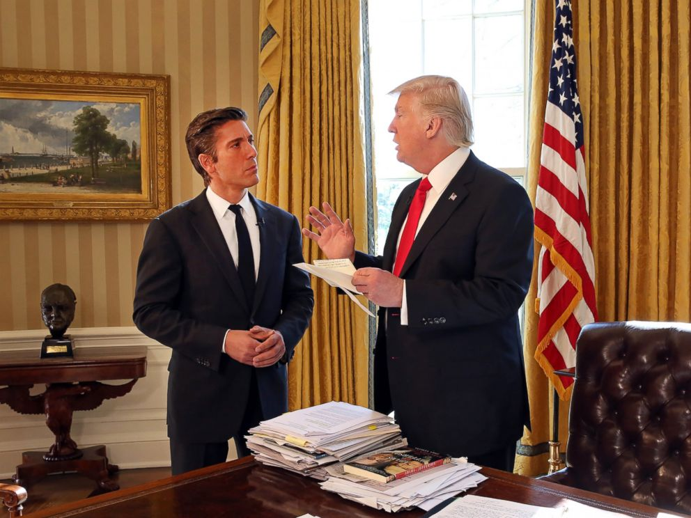 PHOTO: ABC News David Muir talks to President Donald Trump at the White House in Washington.