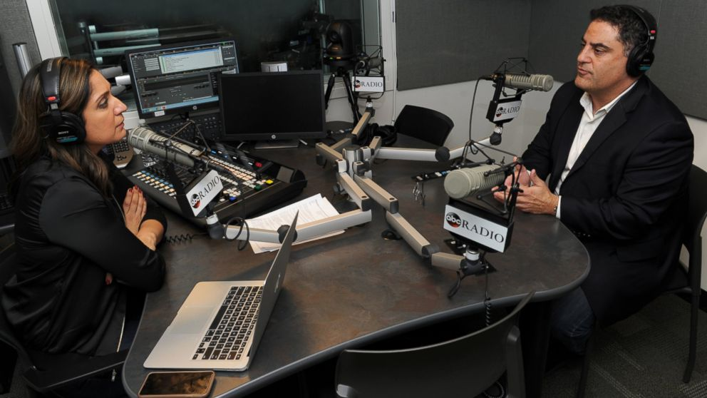 PHOTO: Amna Nawaz interview Cenk Uygur, host of the