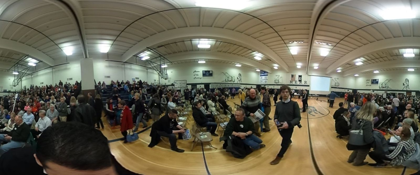 PHOTO: The scene inside an Iowa caucus location at Merrill Middle School in Des Moines.