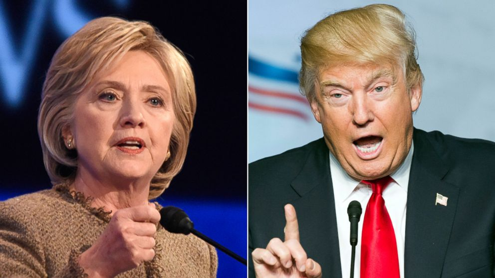 Image result for split screen image of hillary and donald trump