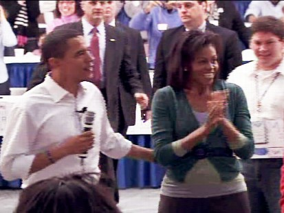 Video of Barack Obama speaking with his wife Michelle at a national service day event.