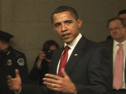 Video of Barack Obama on Capitol Hill lobbying GOP members of Congress for support for his economic stiumulus plan.