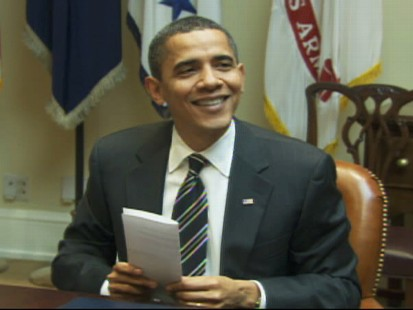 "Video of Barack Obama saying the dog news is ""top secret."""