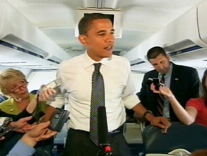 barack obama on his press plane
