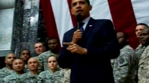 Video of Barack Obama addressing troops in Iraq during a surprise visit.
