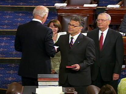 Video of Al Franken being sworn in as senator.