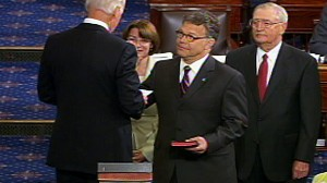 Video of Al Franken being sworn in as senator.