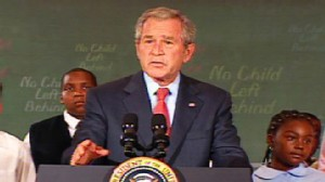 VIDEO: President Bush misspeaks while endorsing No Child Left Behind.