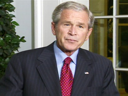 pic of president bush at the white house discussing bailout