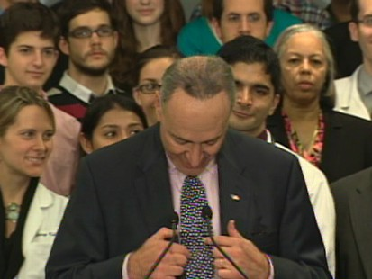 Sen. Chuck Schumer at Nov. 19 health care news conference.