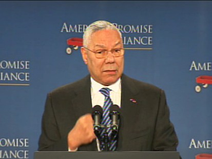 Video of General Colin Powell on education, introduces Obama.