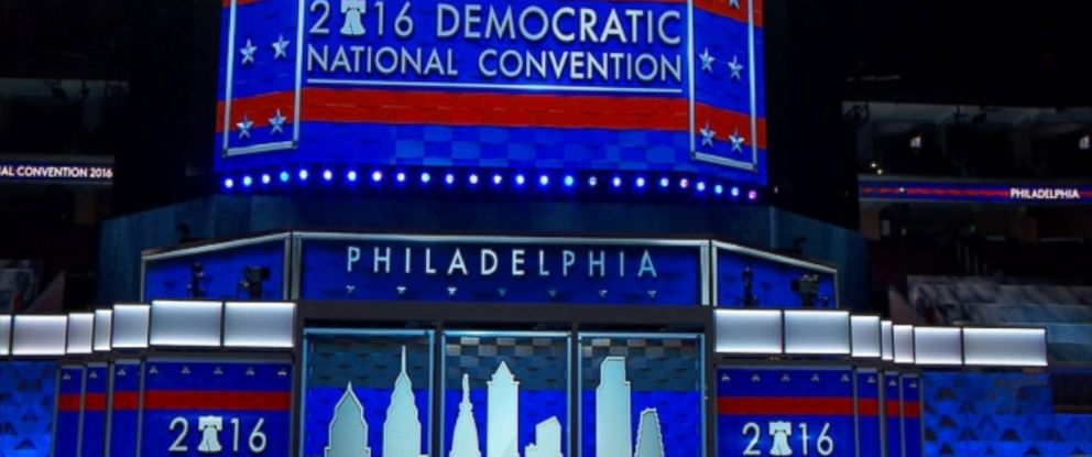 PHOTO: The DNC unveiled the stage and podium at the Wells Fargo Center in Philadelphia for the Democratic National Convention.