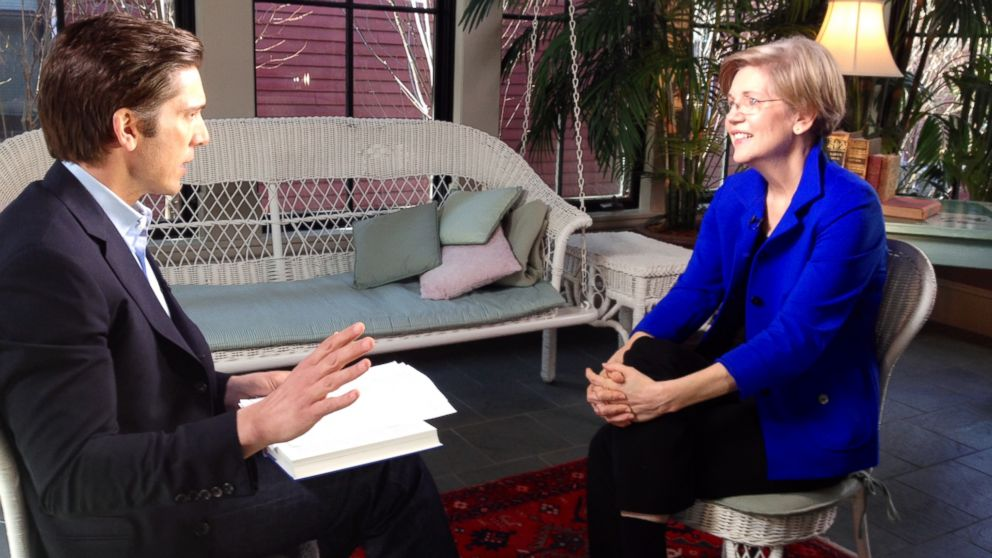PHOTO: ABC News David Muir interviews Sen. Elizabeth Warren, D-Mass., at her Massachusetts home, April 17th, 2014.