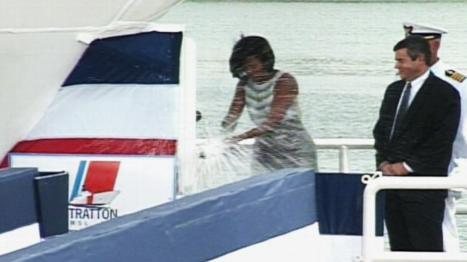 Video: Michelle Obama christens the Stratton.
