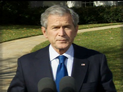 pic of president george w. bush discussing the jobs report