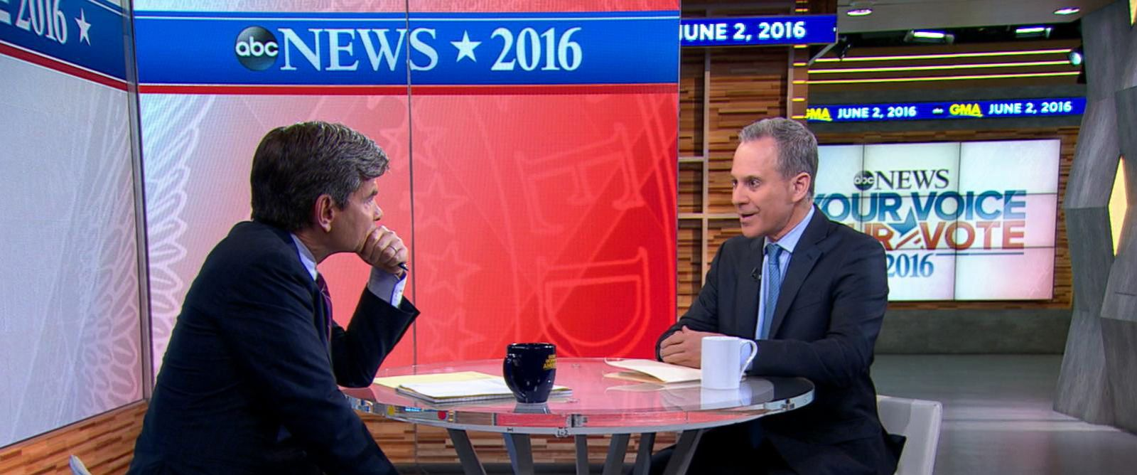 """PHOTO: George Stephanopoulos speaks to New York Attorney General Eric Schneiderman on """"Good Morning America,"""" June 2, 2016."""