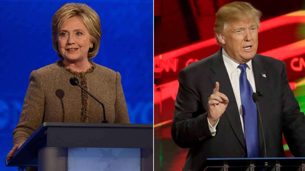 PHOTO: Democratic presidential candidate Hillary Clinton at the Democratic debate in Manchester, New Hampshire, Dec. 19, 2015; Republican presidential candidate Donald Trump at the Republican debate in Houston, Texas, Feb. 25, 2016.